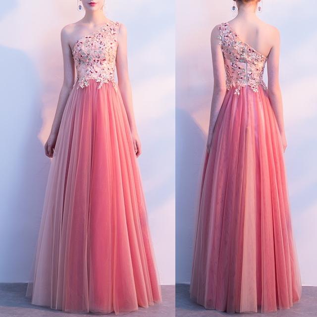 フラワー&ビジュー イブニングドレス ロングドレス ワンショルダー