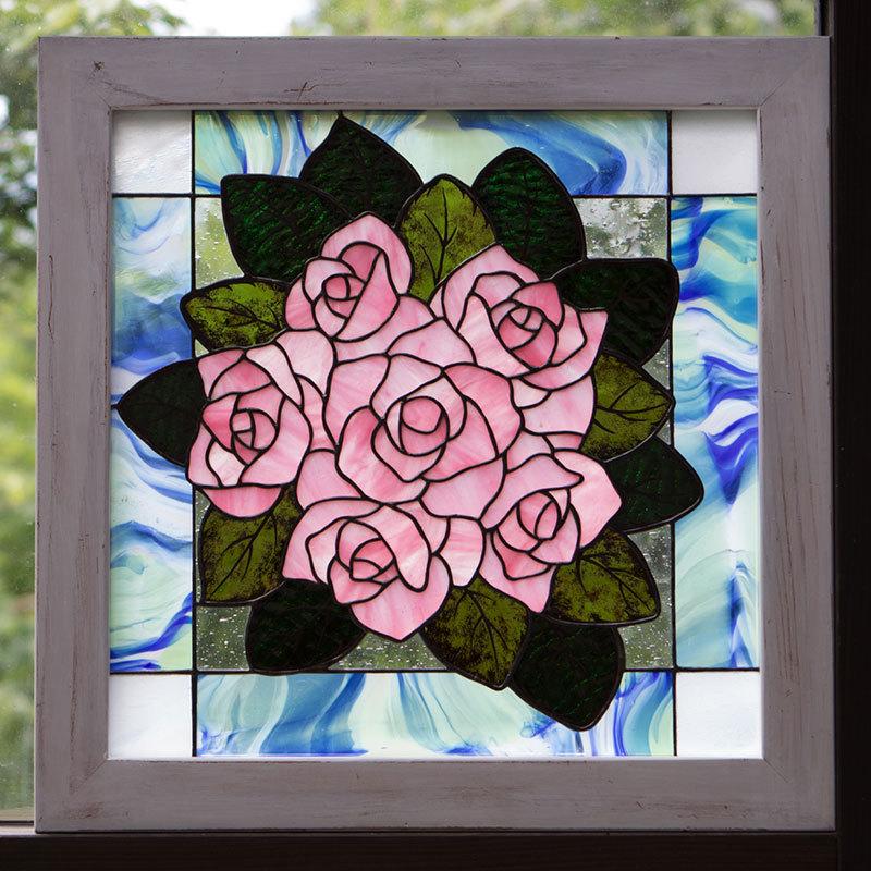 薔薇の花束(ステングラスのアートパネル) 03050208