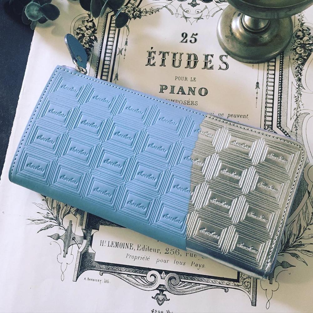 訳あり:革の紫陽花色チョコ長財布(銀の包み紙)