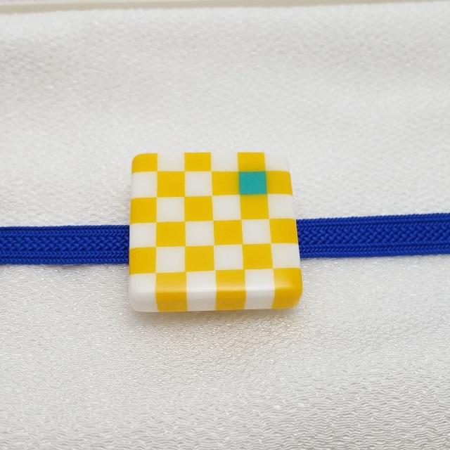 マメコロンカラー市松帯留め[大]サイズ【黄色】
