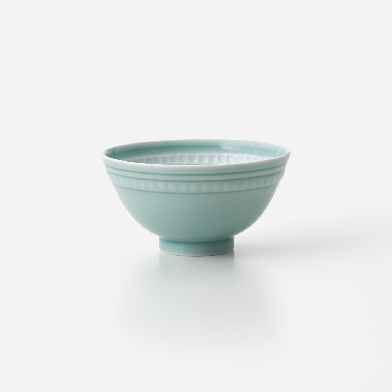 青磁印花 飯碗 (大)