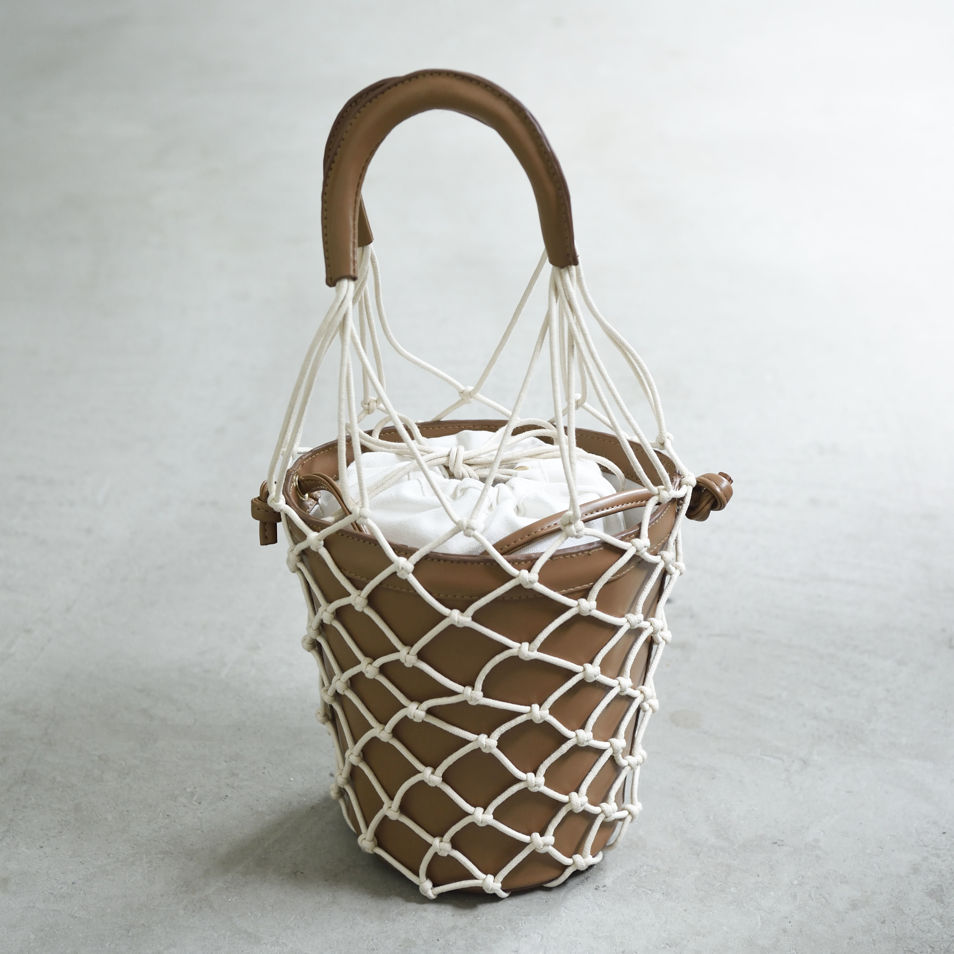 【Mesh-Leather-Basket 】Brown