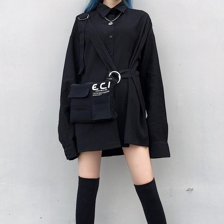 【set】[単品注文]原宿風無地切り替えシャツ+バッグセットアップ22861836