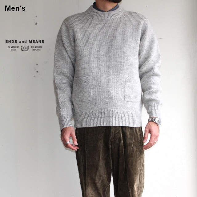 ENDS and MEANS クルーネックニット Grandpa Knit EM172K008 (BEIGE GRAY)