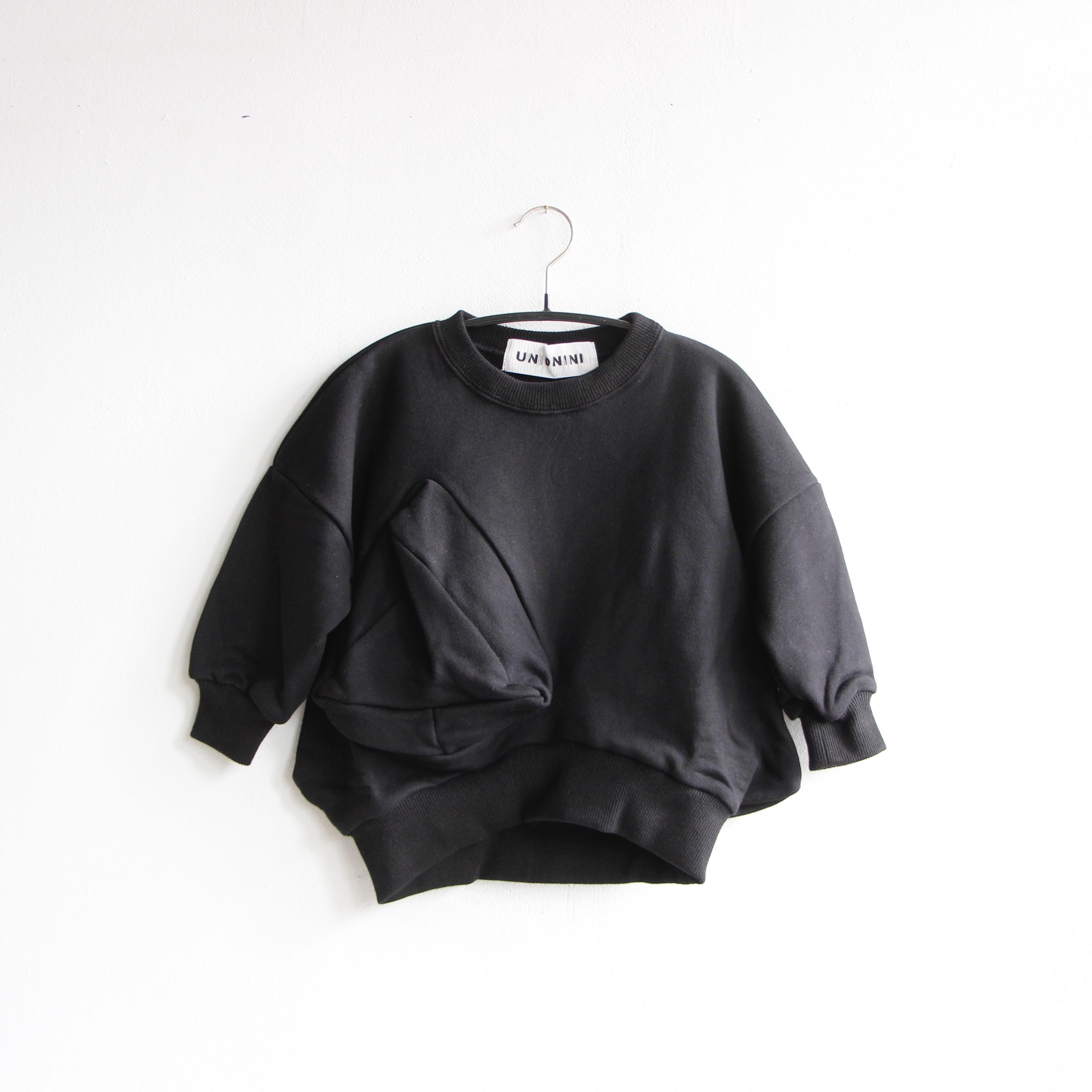 《UNIONINI 2020AW》◯△ sweat shirt / black / 1-12Y
