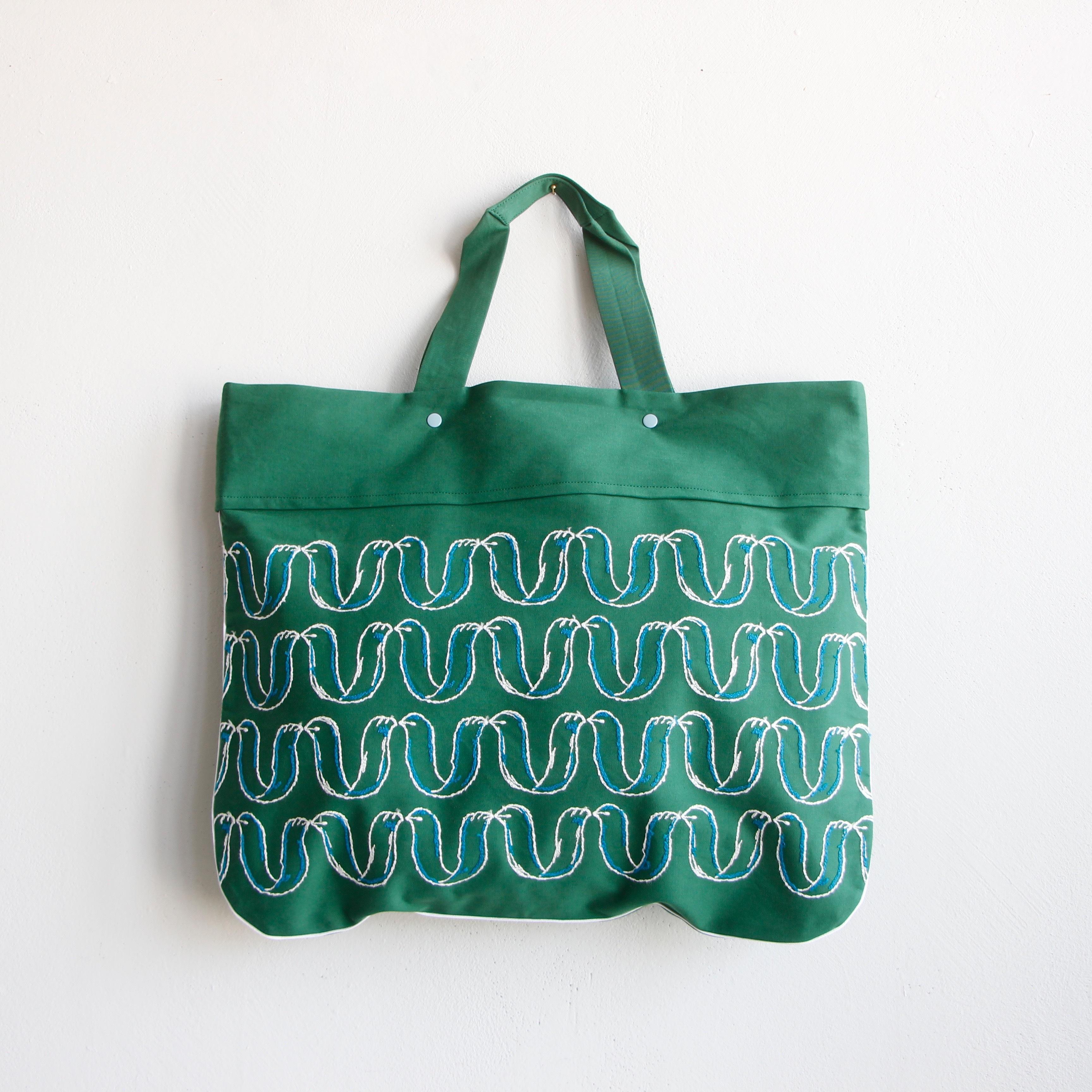 《mina perhonen 2020SS》ribbon bird レッスンバッグ / green