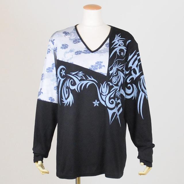 和柄切り替えドラゴンTシャツ/GGD25-T805 BK-GY/MM