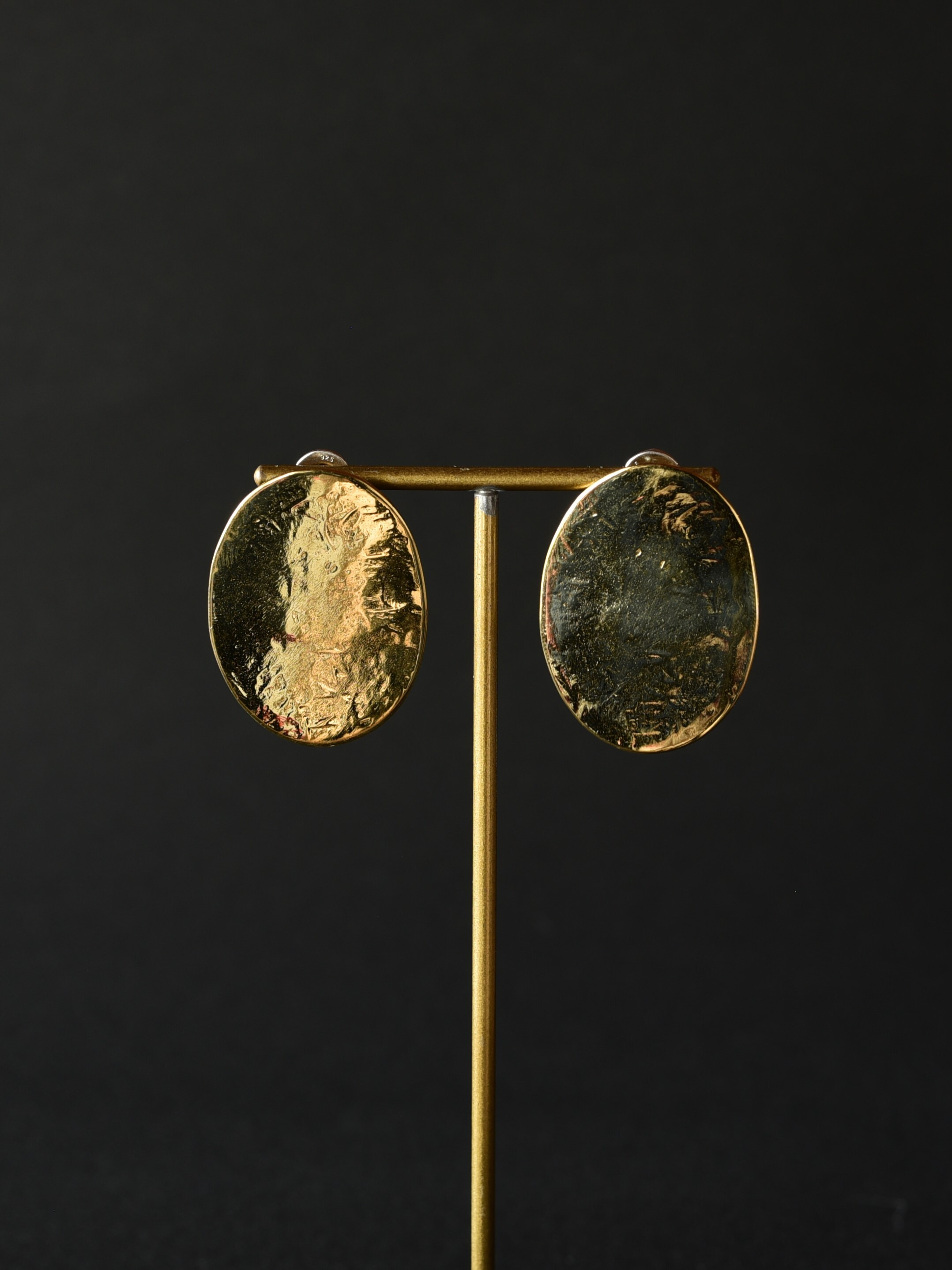 accessories mau|p116 平打ちオーバル ピアス brass