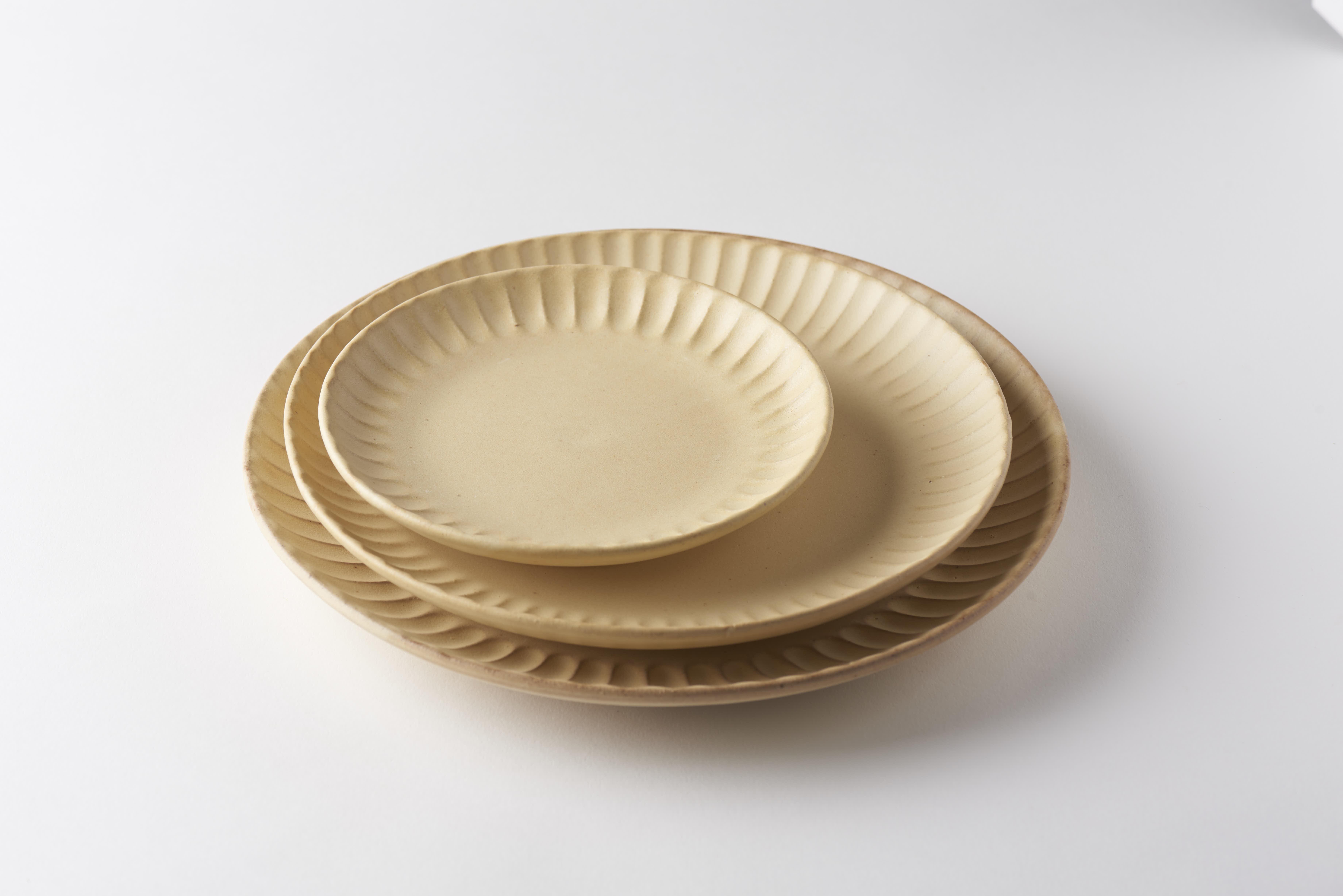 太しのぎ5寸皿(クリーム)