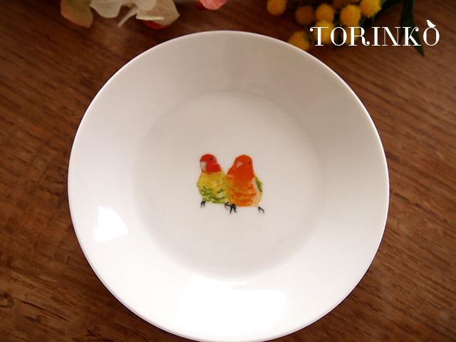 コザクラインコ オレンジ お皿 中(鳥・オウム・インコ)