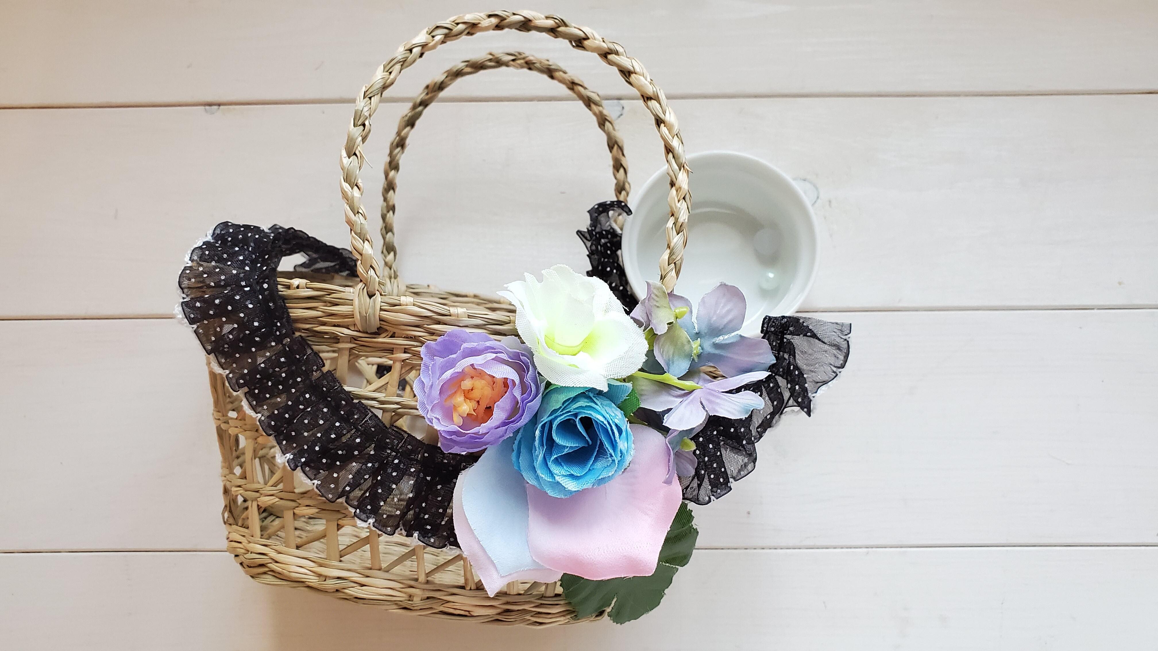 おでかけ花かご(ブラックドットレース) / キット