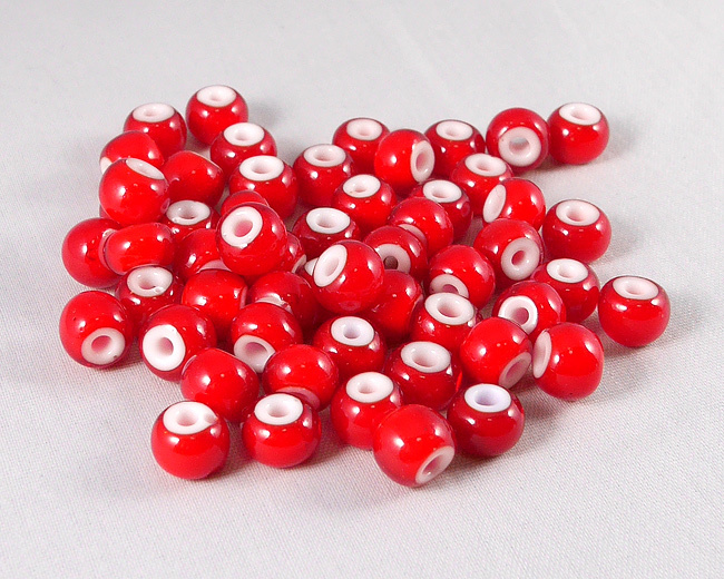 ホワイトハーツビーズ 赤色 外径8mm  H2739WH14103