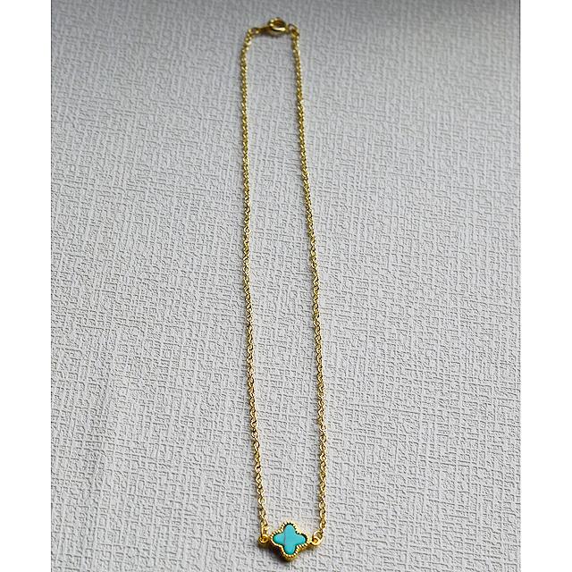 フェミニンな花形ネックレス(turquoise blue)