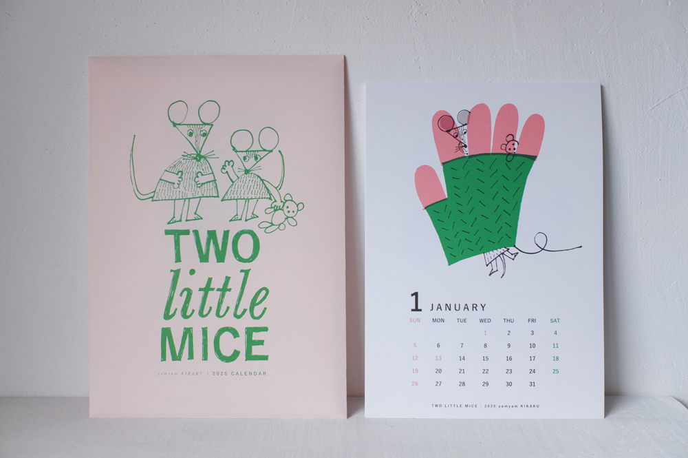 """yamyam / yamyamKIKAKU 2020年カレンダー """"TWO little MICE"""""""