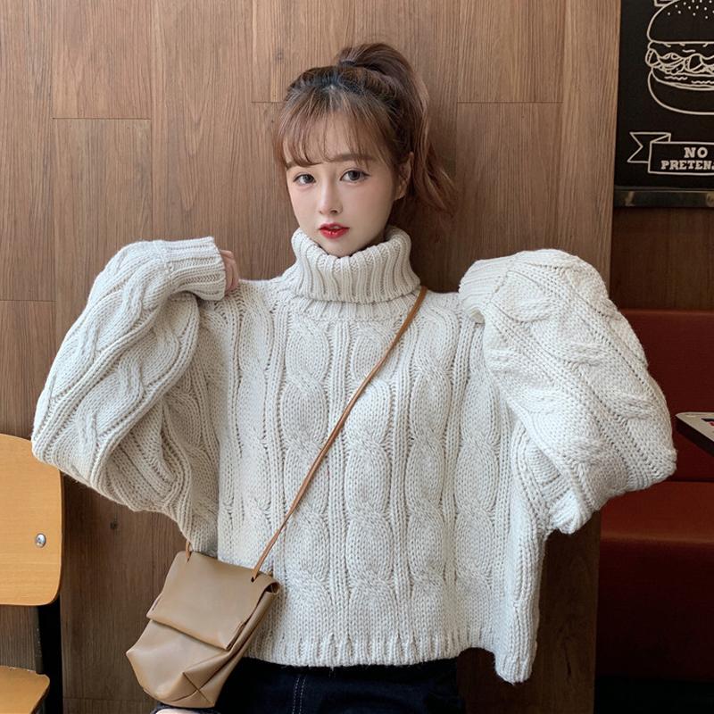 【送料無料】ざっくり 大人可愛い ♡ きれいめ カジュアル ショート丈 タートル ニット セーター トップス