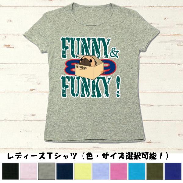 〈受注生産〉FUNNY&FUNKY!箱入りパグ(フォーン)リブクルーネックTシャツ