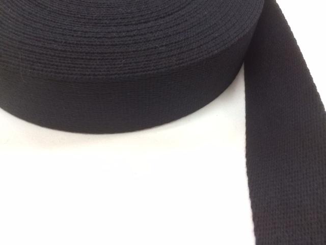 アクリル 三つ綾織 しっかり厚め 黒/カラー 38mm幅 50m巻