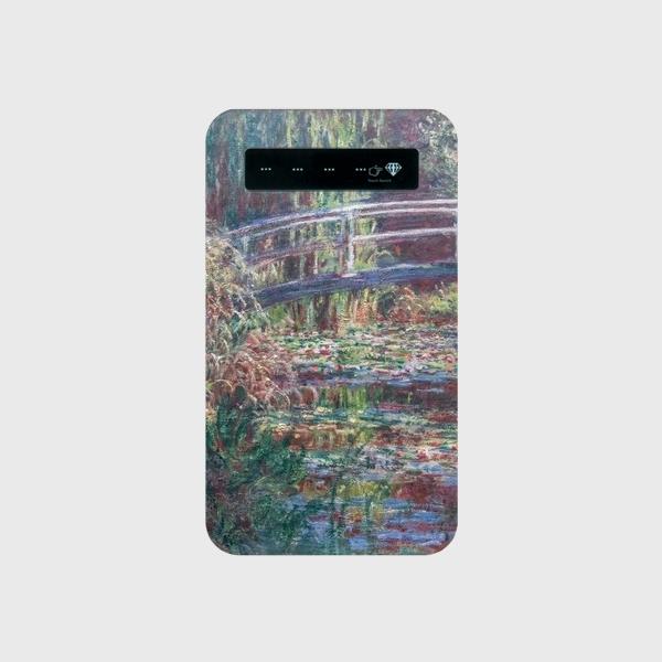 モネ「睡蓮の池、バラ色の調和 1900」 モバイルバッテリー