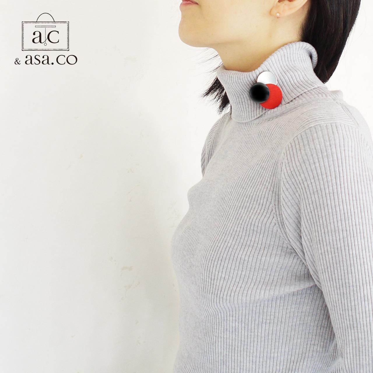 どんなお洋服にも似合う!シンプルフォルム アクリル&ステンレス&麻のブローチ〈 Dots 〉Urushi