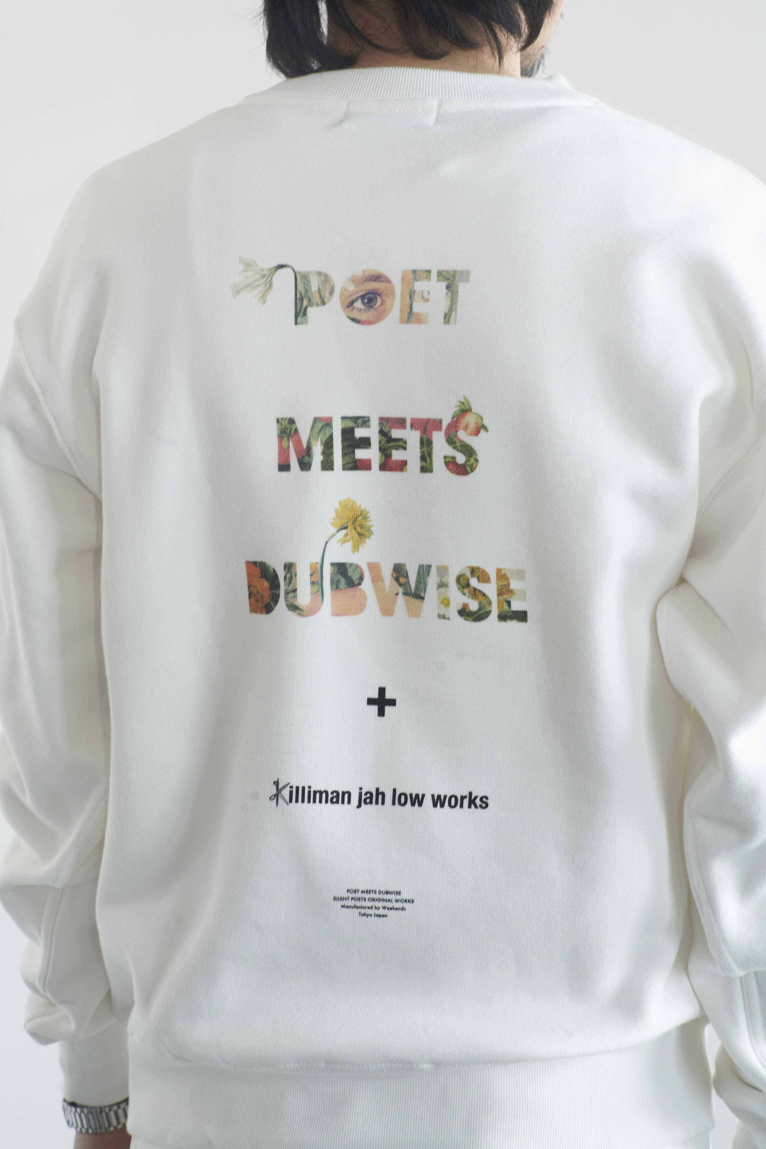POET MEETS DUBWISE Killiman Jah Low Works PMD Logo Collage Inkjet Heavy Weight Sweat