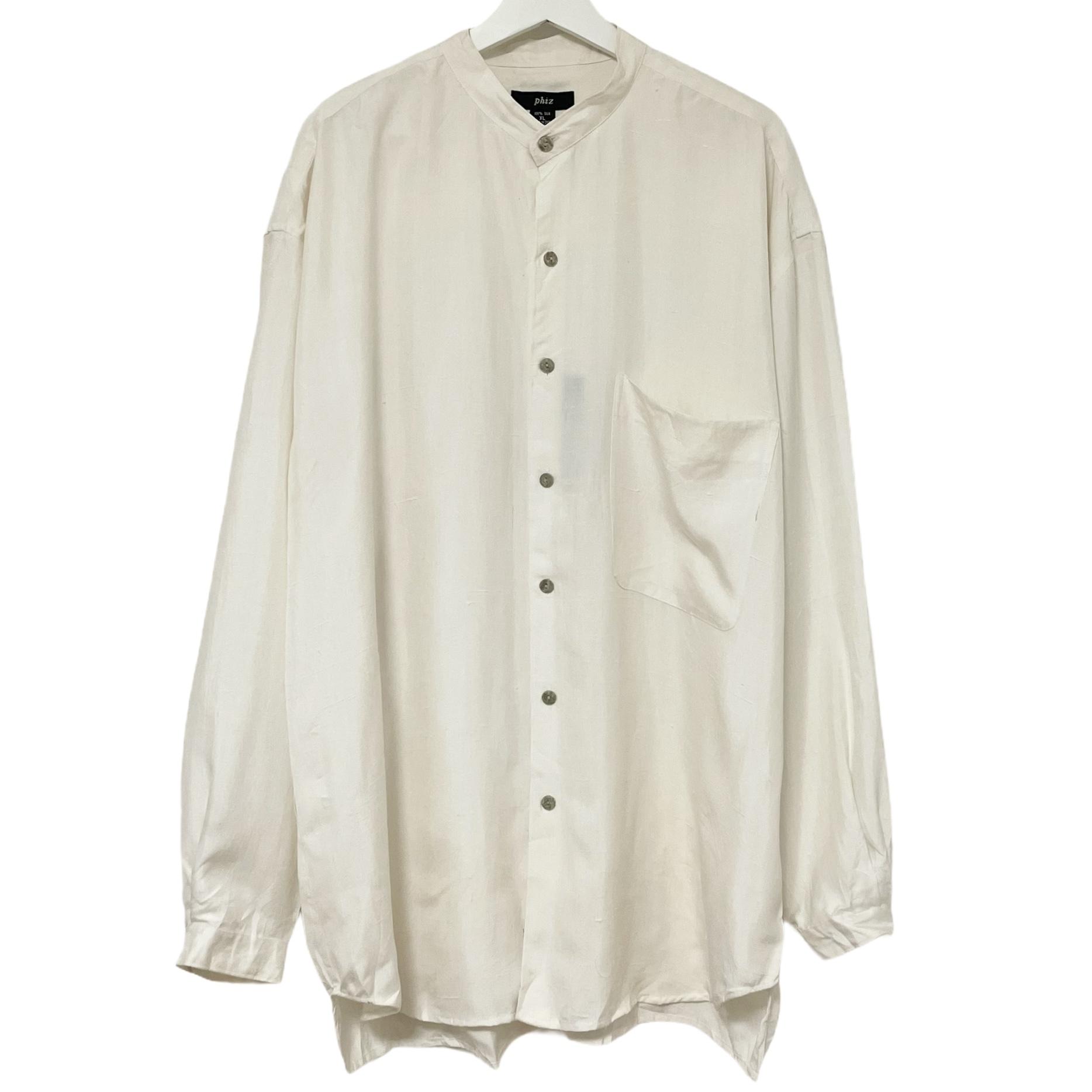 Dead Stock 90's phiz Silk Shirt 【 Band Collar White 】