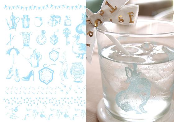 ガラス用 ガーリーアンティーク ブルー(ポーセリンアート用転写紙)