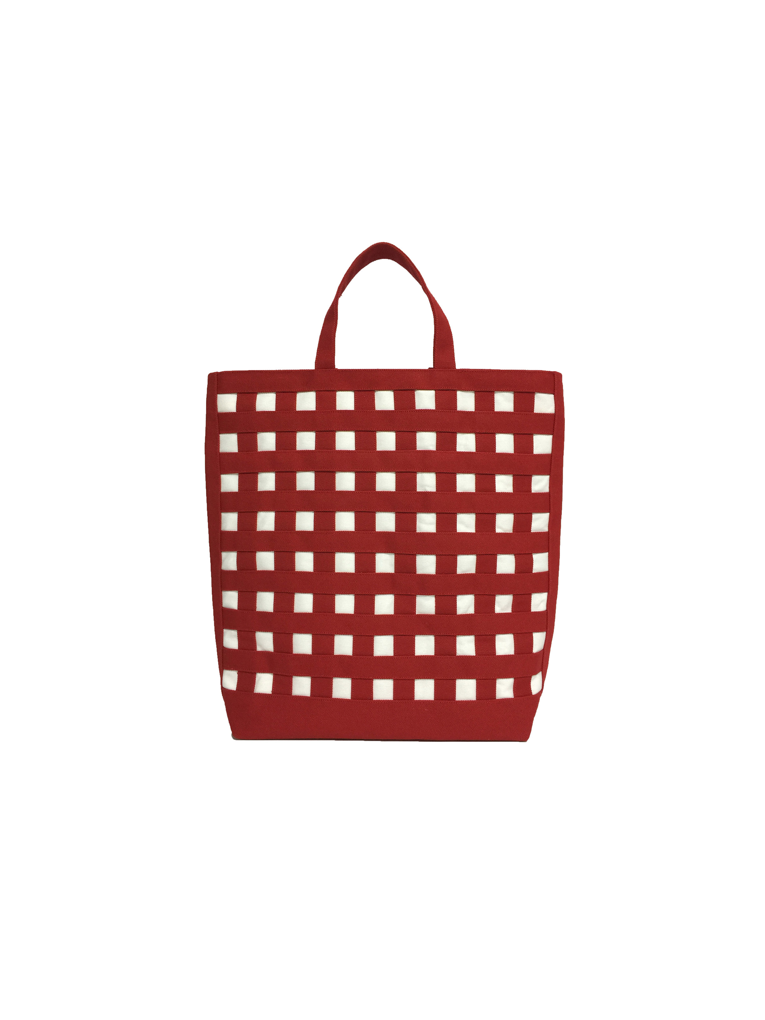 gingham tote ギンガムトート carrés  カレ 20-72  カラー:ダークレッド