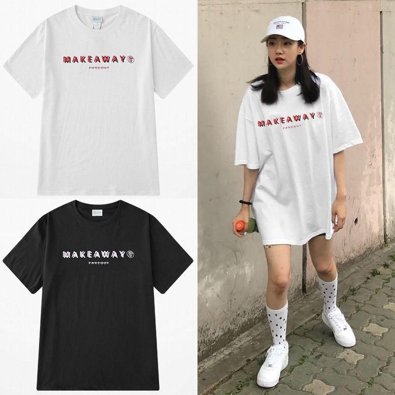 ユニセックス 半袖 Tシャツ メンズ レディース 英字 MEKE A WAY 立体的 プリント オーバーサイズ 大きいサイズ ルーズ ストリート