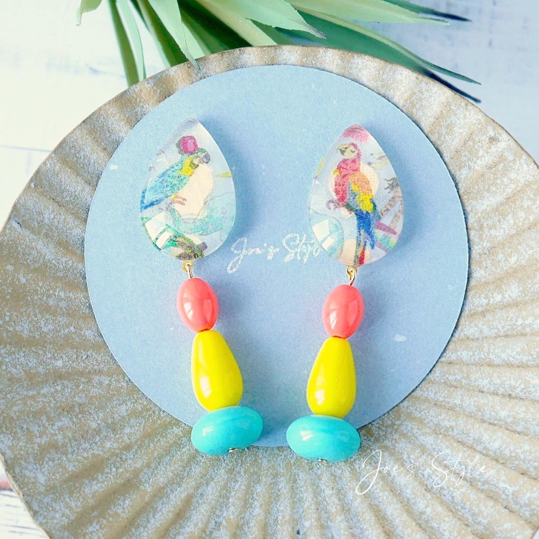 """"""" Earrings NO.0-2000″ リバティ鳥さんとカラフルガラス&ドイツビーズ"""
