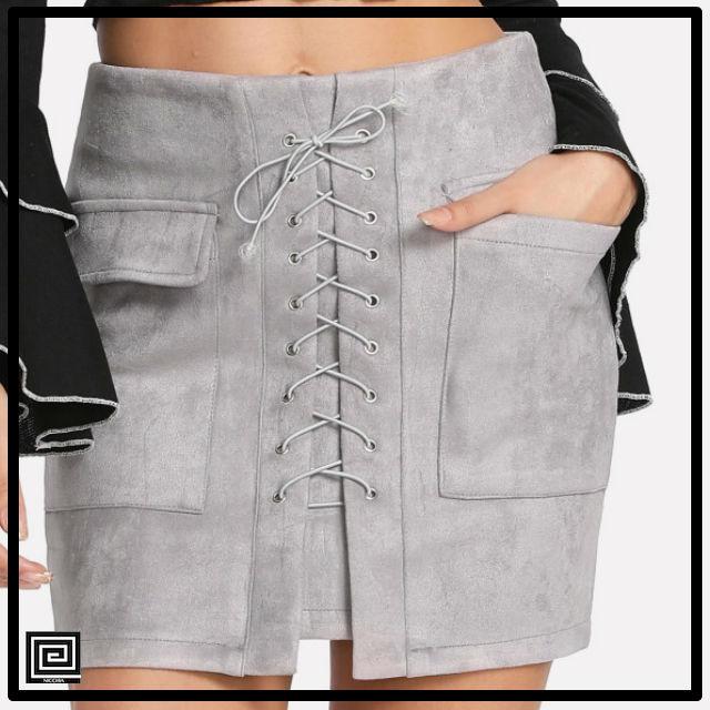 デュアルポケットクリスクロスフロントスカート