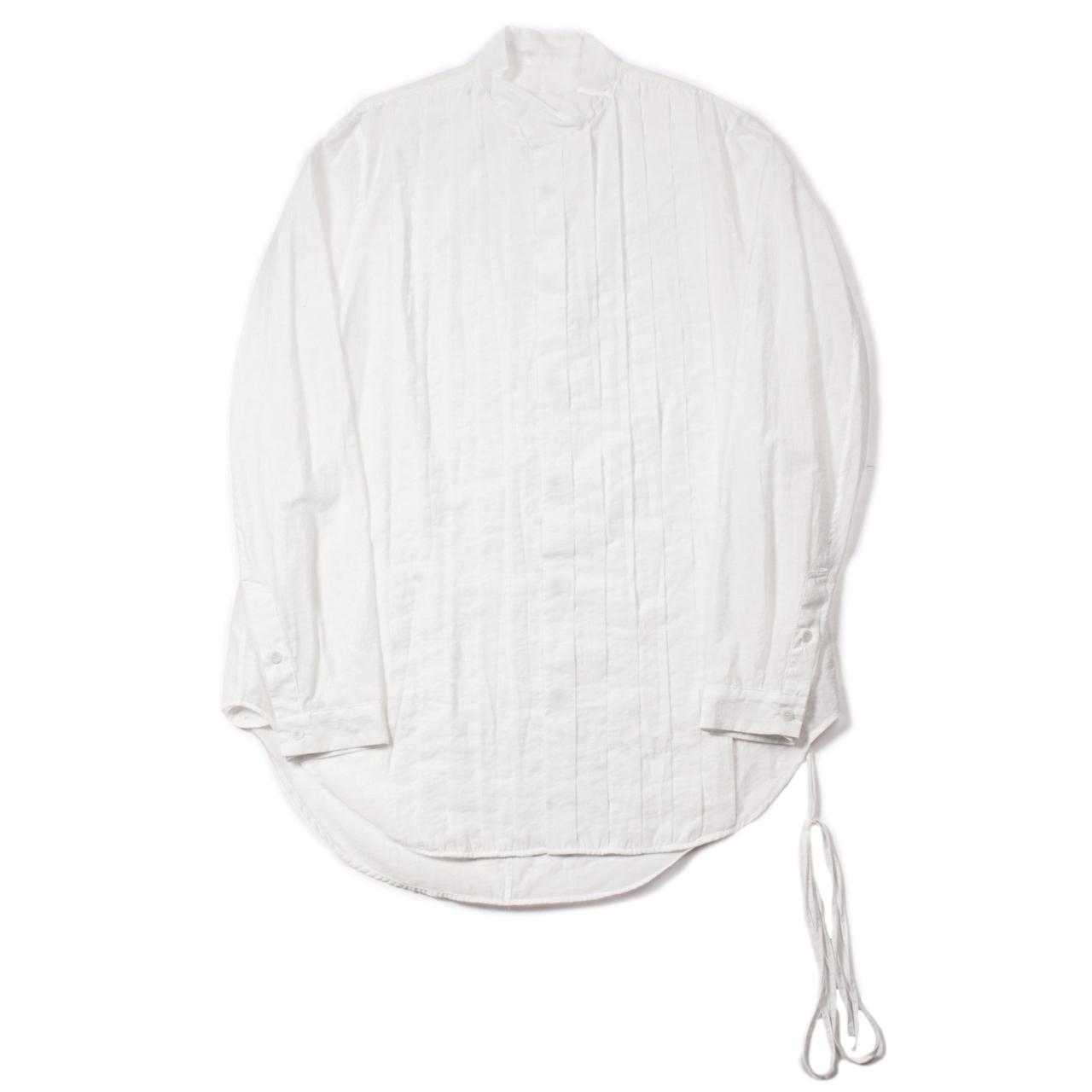 717SHM1-OFF WHITE / プリーツスタンドカラーシャツ
