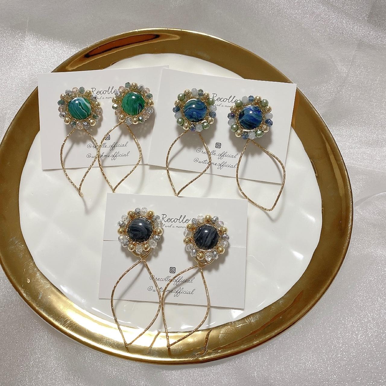 vintage stone twist hoop( green・ blue・black)