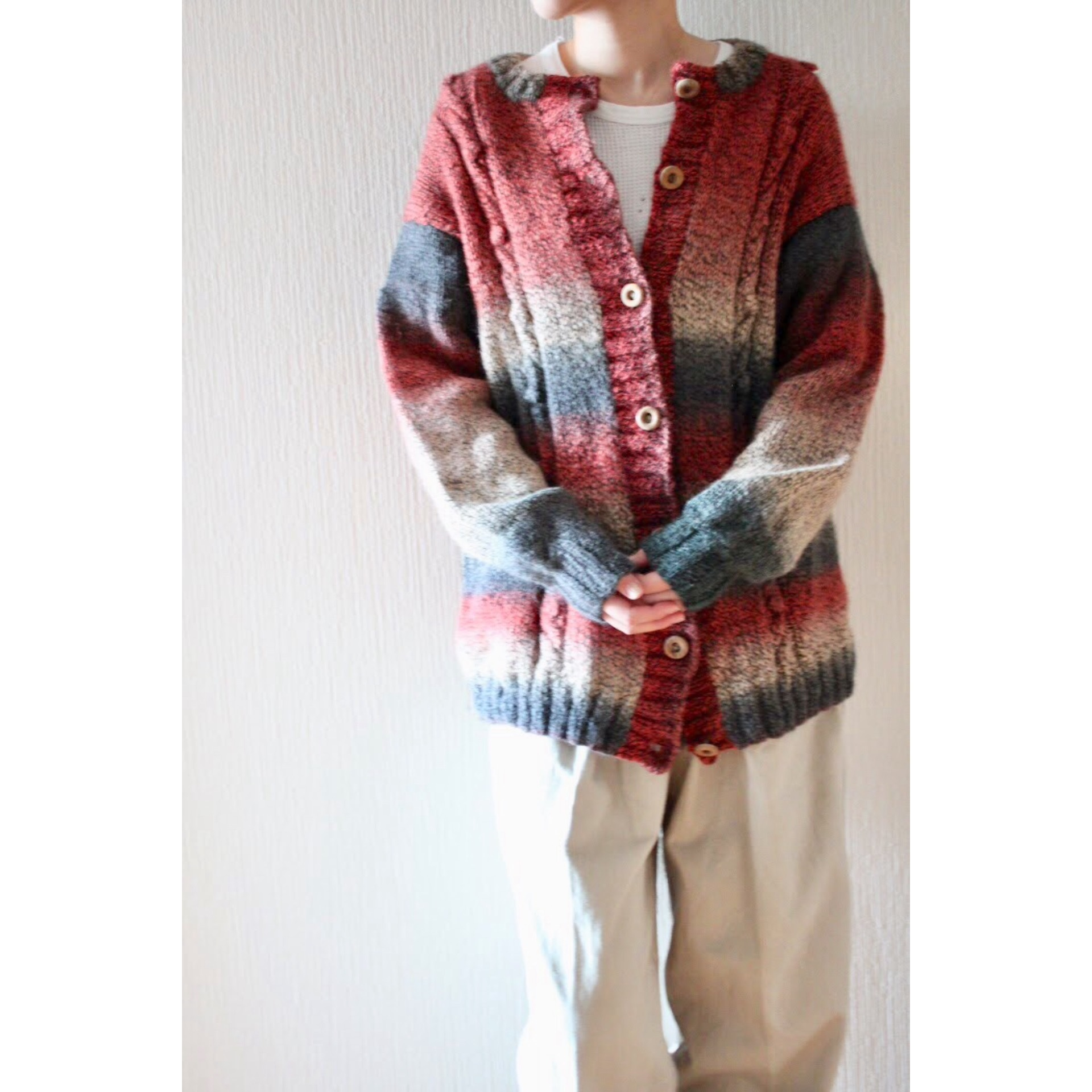 Vintage wool cotton knit cardigan