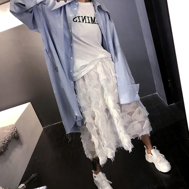 ストリートにも甘めにも♡ふんわり羽素材 ロングスカート
