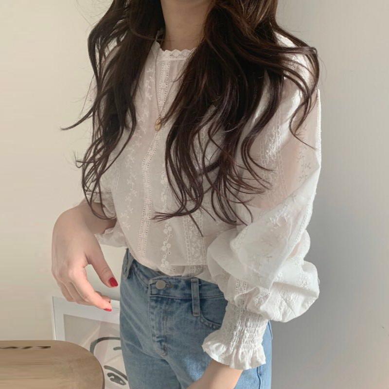 【tops】簡約・シンプルホワイト長袖透かし彫りシャツ18122456