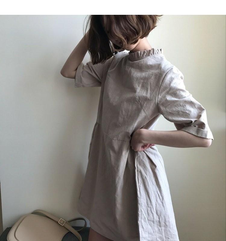【dress】簡約・シンプル無地膝上半袖スタンドネックカジュアルワンピ17826568
