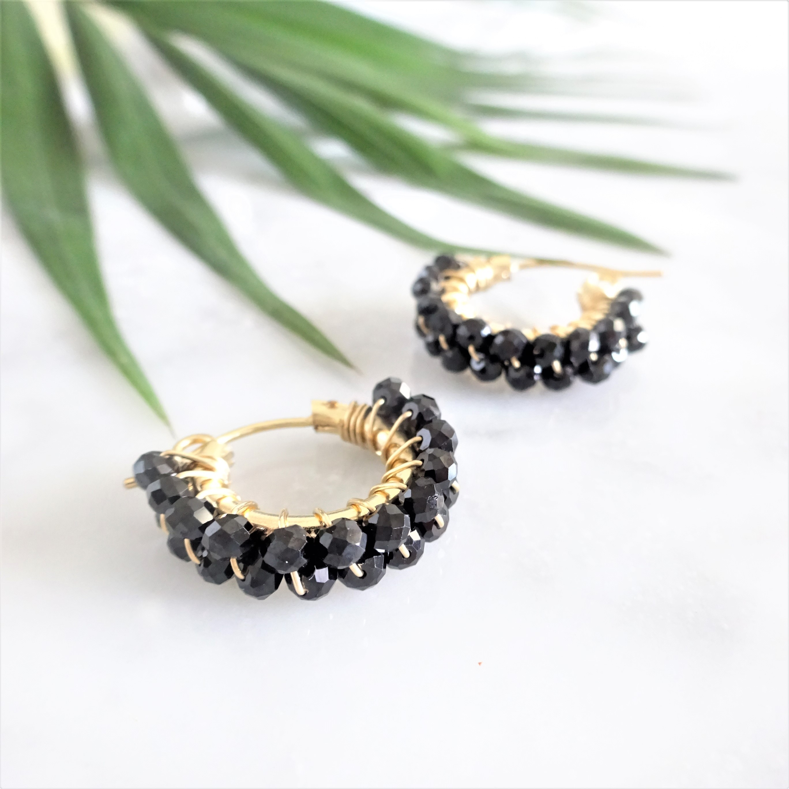 送料無料 14kgf*AAA宝石質 Black Spinel wrapped pierced earring/earring