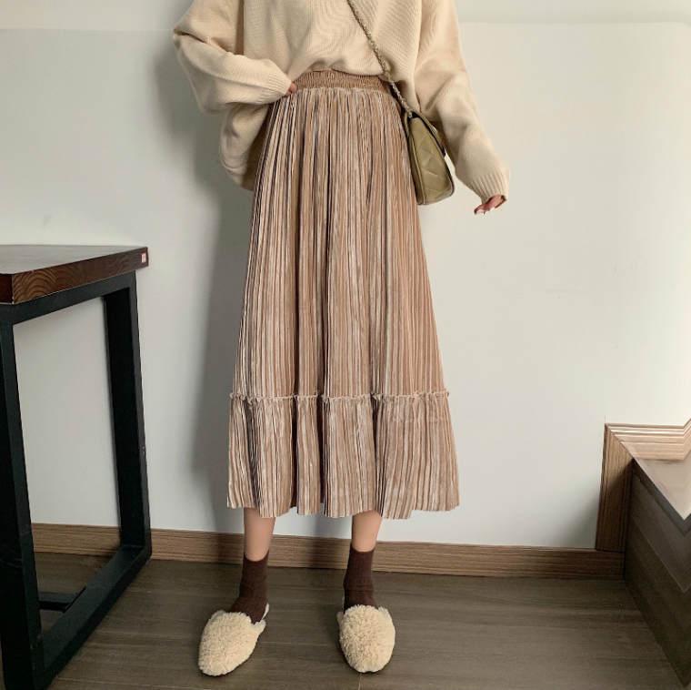 【送料無料】 上品スカート♡ 大人可愛い ベロア ティアード プリーツ ロング スカート ウエストゴム