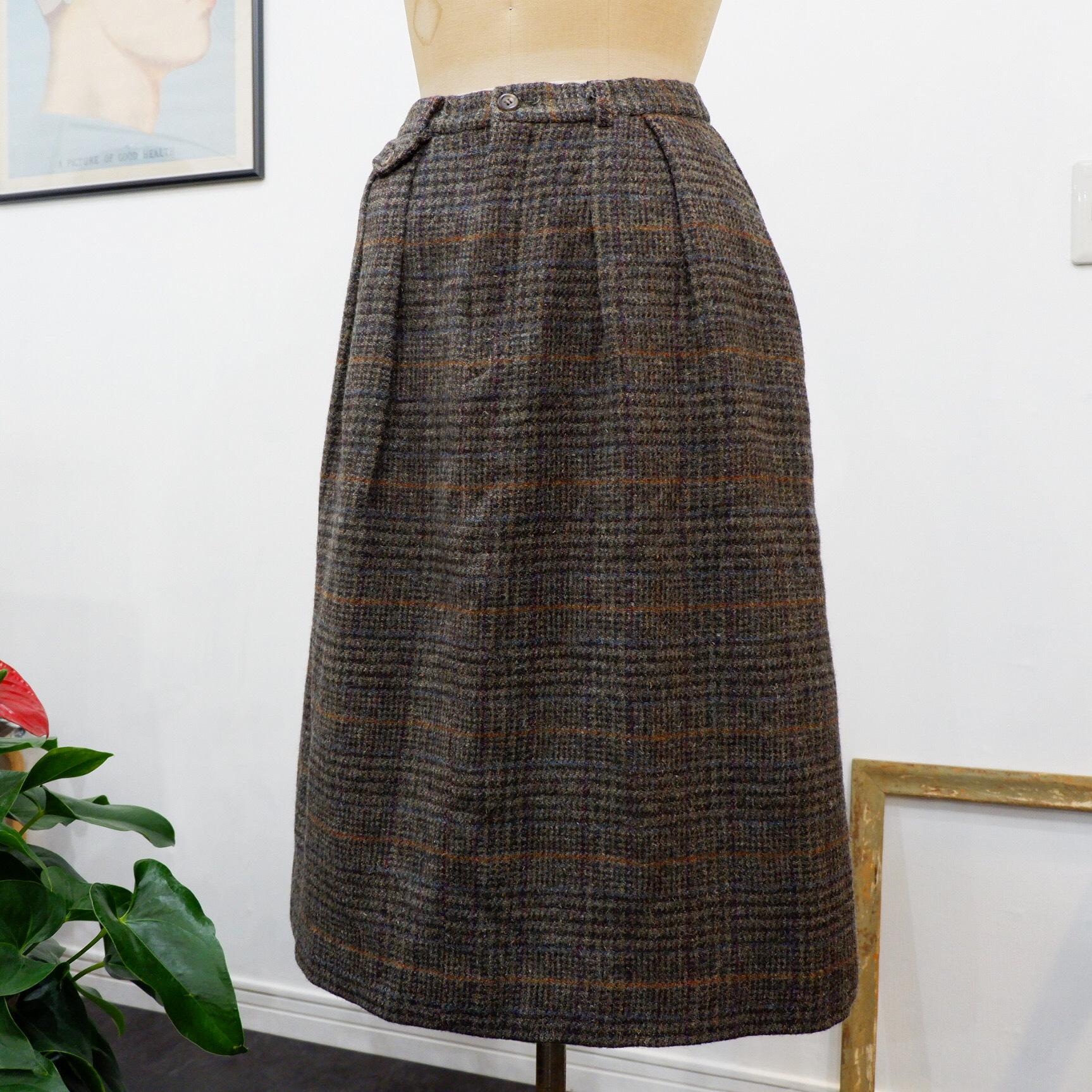 アメリカ古着 1990s USA製 ralph lauren グレンチェック ウールスカート