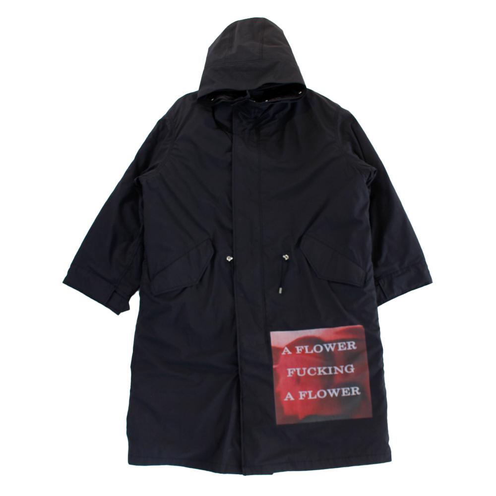 ALMOSTBLACK Patch Work Hooded Coat Black