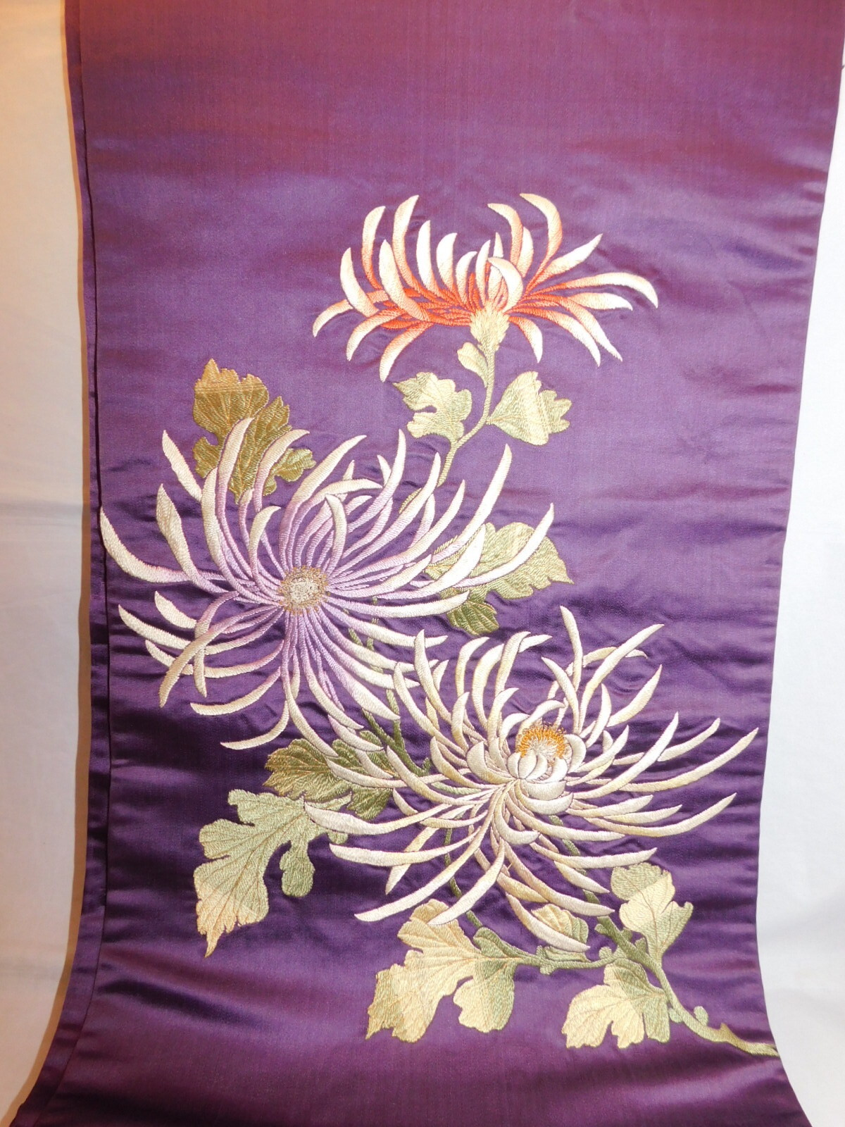 日本刺繍菊昼夜帯 Cyuya obi sash (chrysanthemum)