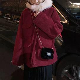 2色展開 ファージャケット 裏キルティング  コート ポケット付き カジュアル ガーリー デイリーユース レッド系/ネイビー系