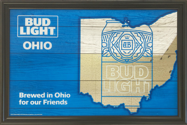 品番0306 パブミラー 『Brewed in Ohio(バドライト オハイオ)』 壁掛 ディスプレイ 011