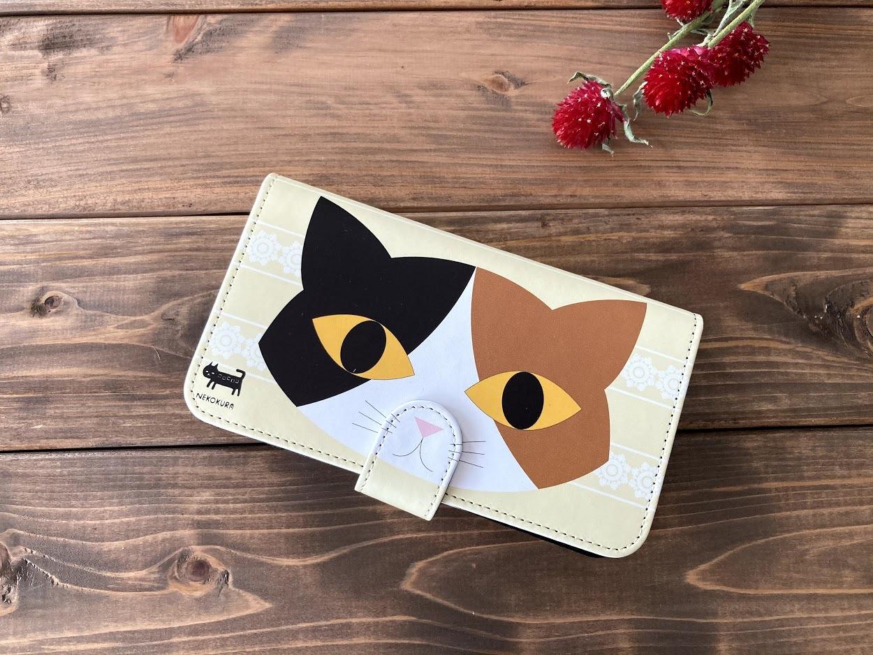 三毛猫 手帳型スマホケース・Lサイズ(iPhone6Plus・7Plus・8Plusなど)