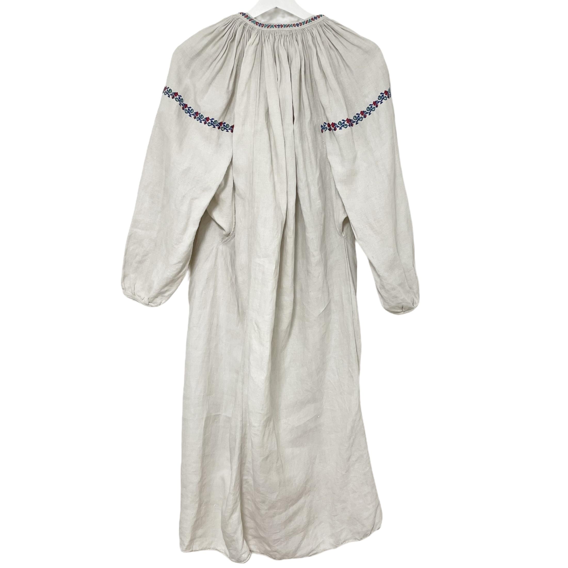 7 Ukrainian Embroidered Linen Dress