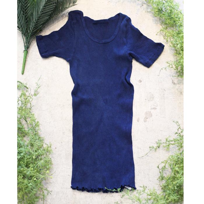 藍染めオーガニックコットン100%半袖リブカットソー~紺瑠璃(こんるり)~
