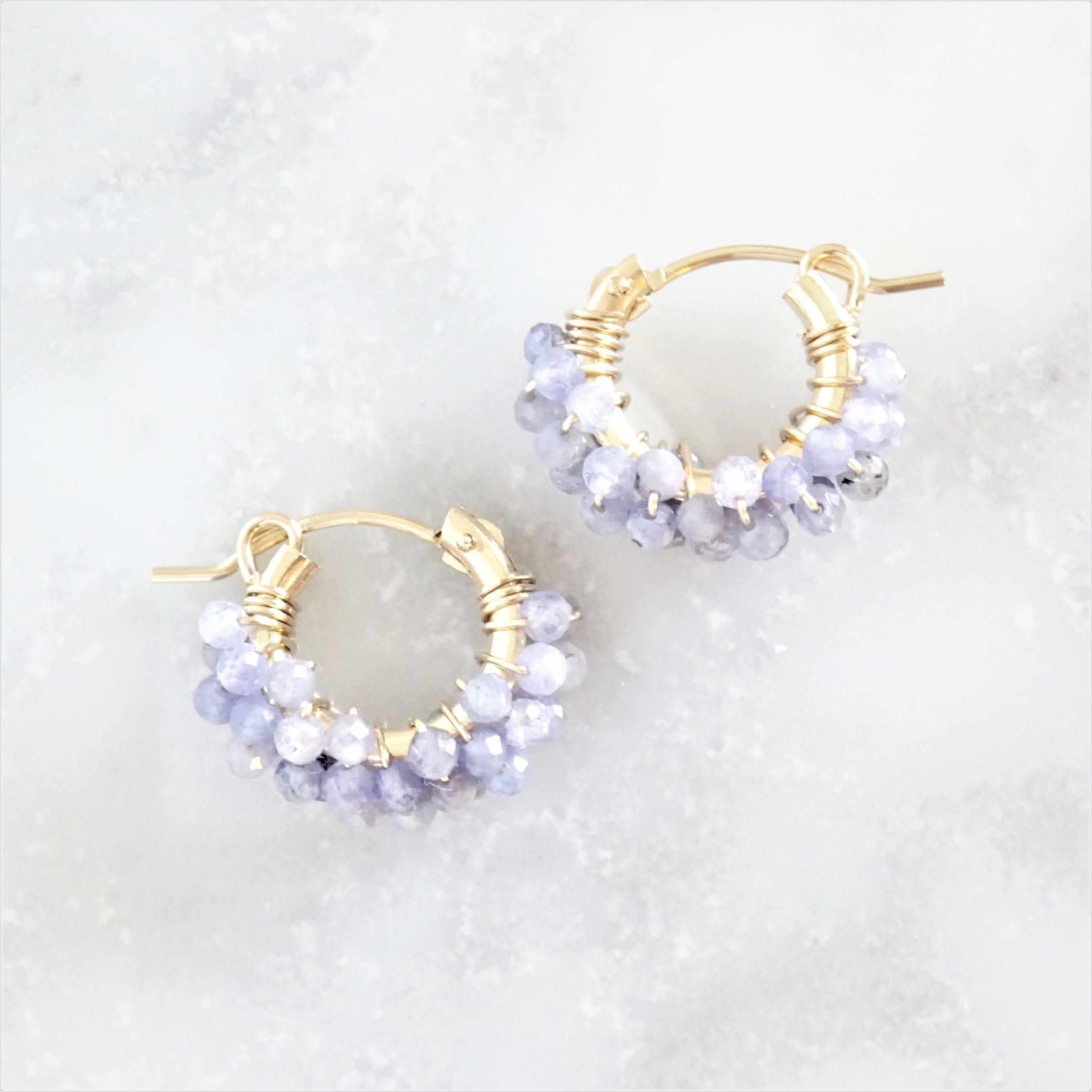 送料無料14kgf*Tanzanite pavé pierced earring / earring