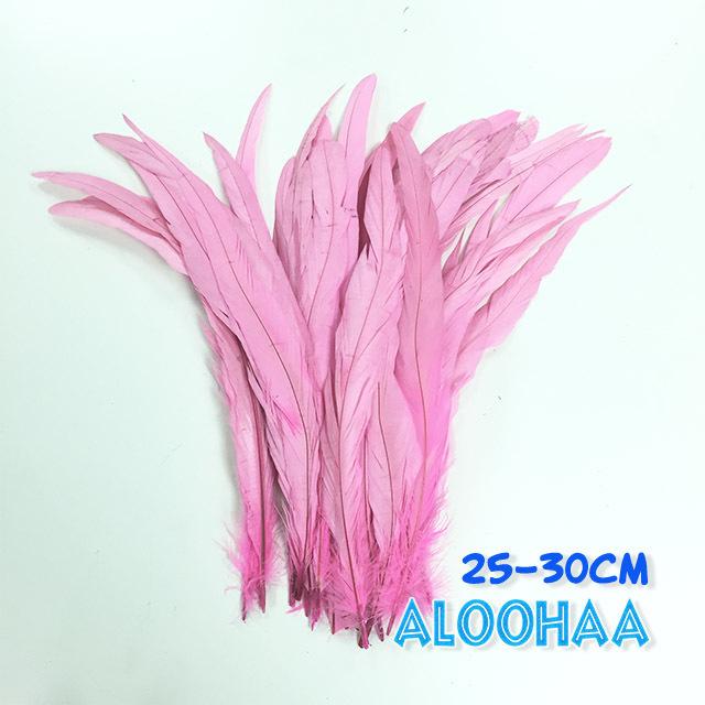 単色ロングフェザー 【ピンク】25~30cm タヒチアン 衣装 材料 ルースターテール 染め 羽根