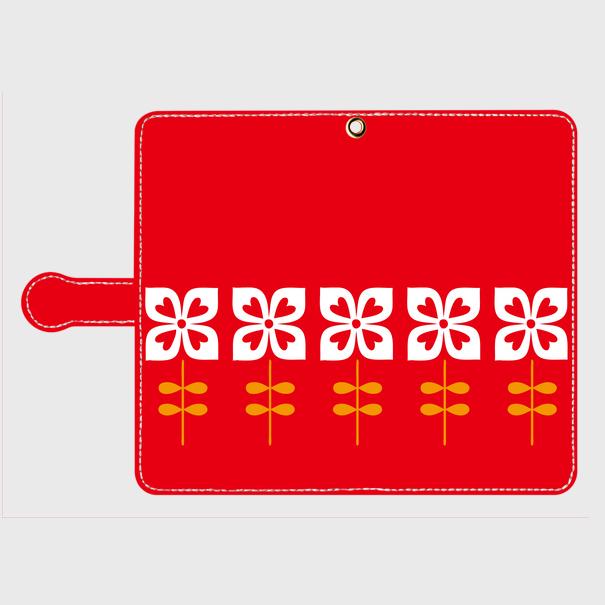 昭和デザイン花(赤・1)/ Androidスマホケース(手帳型ケース)