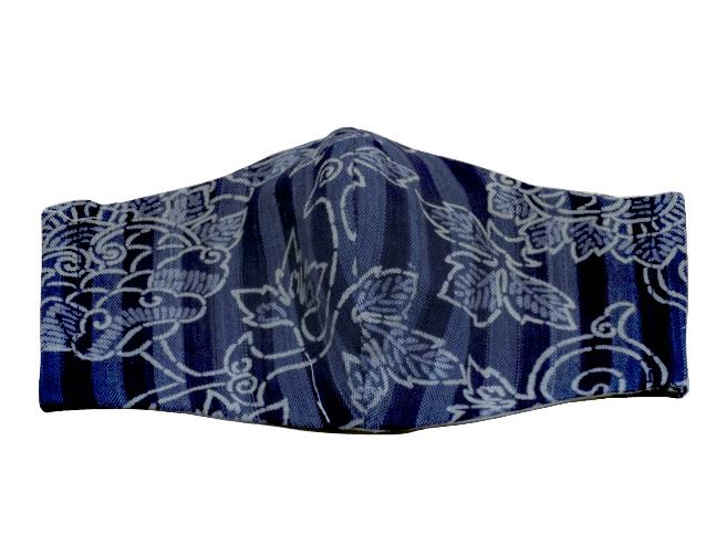 藍染立体マスク(青縞×唐草模様)